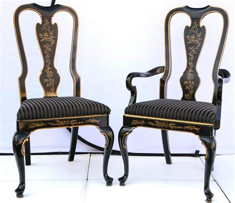 Drexel Heritage Dining Chairs Set Of Six Drexel Heritage Black Laquered Chinoiserie Dining Chairs At 1stdibs