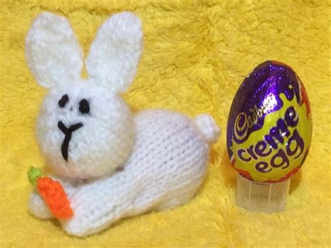 knitted creme egg easter bunny creme egg choc cover knitting pattern by