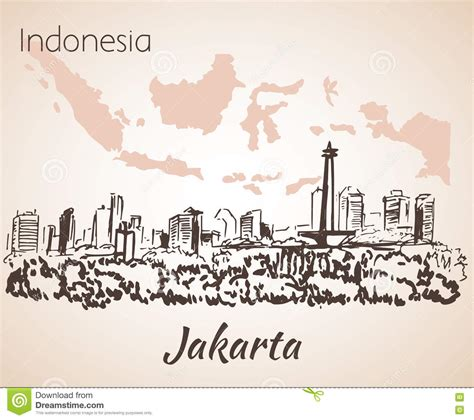 sketchbook indonesia jakarta cityscape vector illustration cartoondealer
