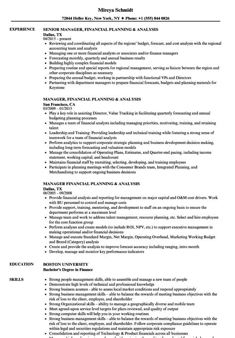 financial planning and analysis resume exles manager financial planning resume sles