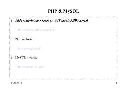 xp tutorial w3schools php meets mysql ppt download