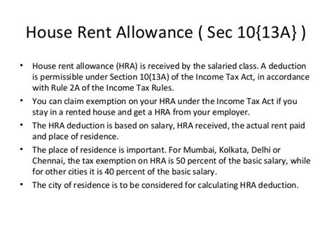 hra deduction under section lecture 4 income exempt from tax 5