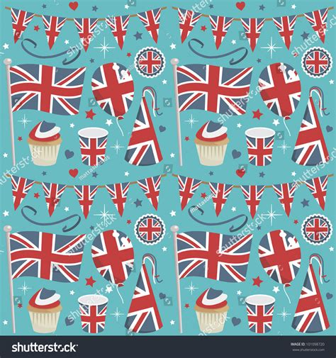 united kingdom pattern seamless united kingdom party pattern wrapping stock