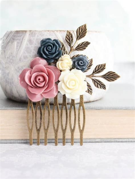 Floral Bridal Hair Comb Dusty Rose Pink Wedding Navy Blue