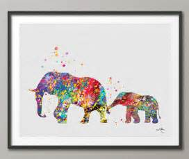 Eagle Wall Decor Elephant Family 2 Art Print Watercolor Painting Wedding Gift
