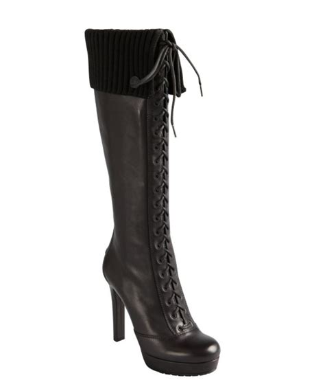gucci black leather lace up ribbed cuff platform knee high
