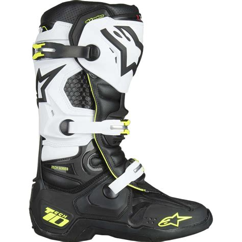 white motocross boots new alpinestars mx 2018 tech 10 fluro black white