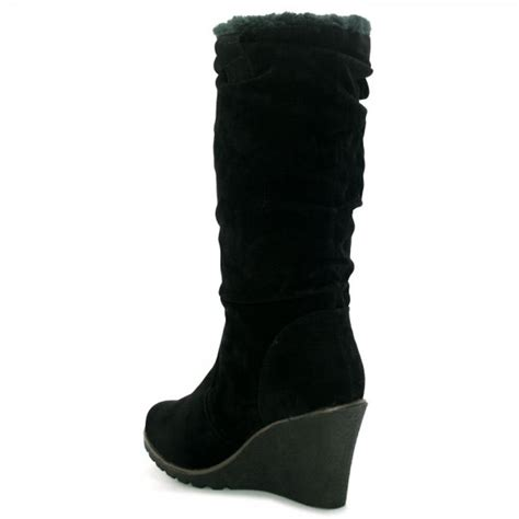 womens black suede fur style knee wedge heel boots from