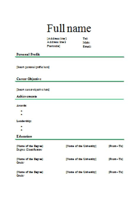 Layout Of A Standard Cv | standard cv template 3
