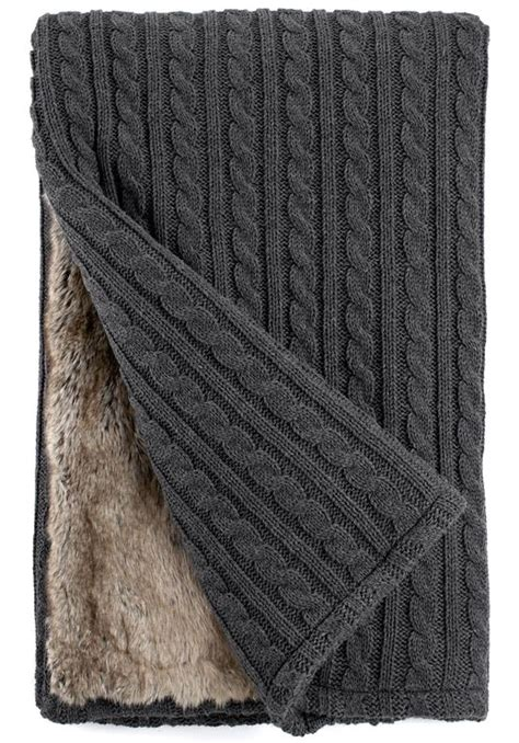 cable knit throw blanket grey cable knit chinchilla faux fur throw blanket faux