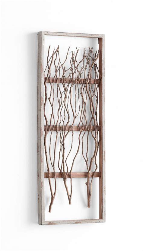 twigs tall framed wood wall decor  cyan design