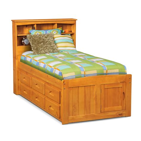 Livingroom Sectionals Ranger Twin Bookcase Bed With 6 Underbed Drawers Pine