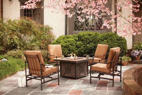 hton bay outdoor fireplace tables for outdoor entertaining hgtv