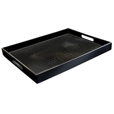 14 quot x 19 quot black polypropylene gator room service tray with