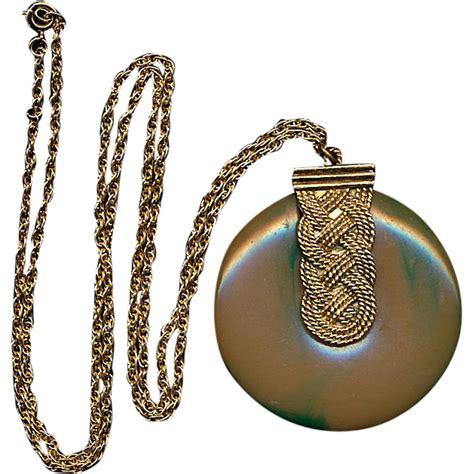 vintage faux bakelite solid perfume pendant necklace pill box