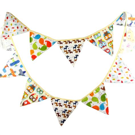 Bunting Flag Accphotobooth 1 12flags 3 2m flags handmade fabric bunting banner for kid s birthday decorations