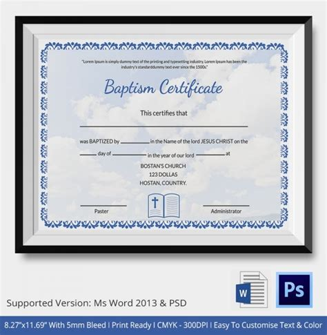adult baptism certificate template related keywords