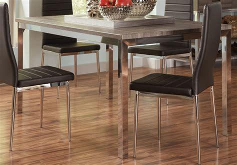 Weathered Grey Dining Table Coaster Eldridge Dining Table Weathered Grey Chrome 121121 At Homelement