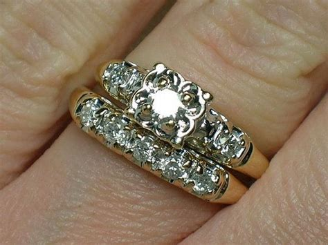 diamond rings vintage wedding rings set 1940s illusion