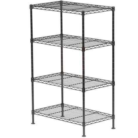 wire shelves home depot sandusky 32 in h x 20 in w x 12 in d 4 shelf light duty wire shelving unit in black ws201232