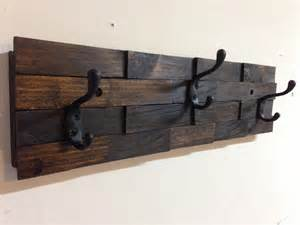 gray polished wooden board wall mounted coat hanger with