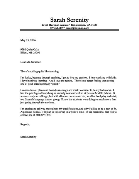 Cover Letter Example of a Teacher with a Passion for