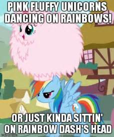 Unicorn Rainbow Meme - pink fluffy unicorns on rainbow dash s head imgflip