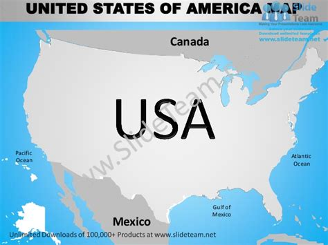 map of united states with oceans usa country editable powerpoint maps with states and