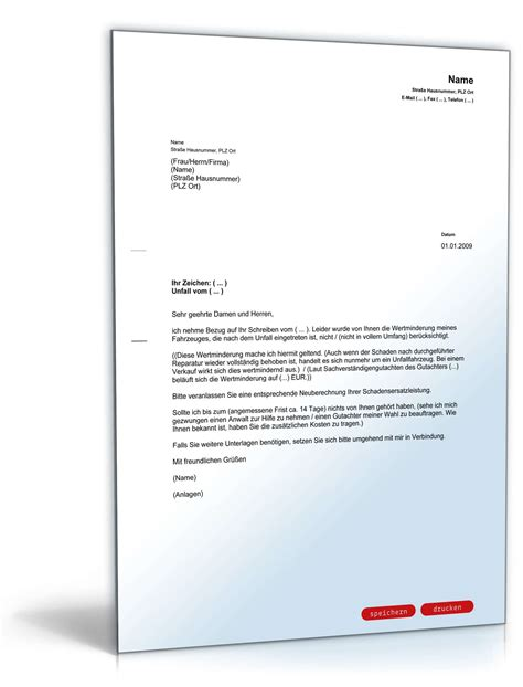 Musterbrief Widerspruch Kfz Versicherung Wertminderung Kfz Musterbrief Aufbau Und Betrieb 220 Bertragungs