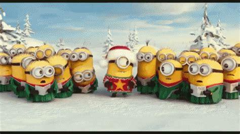 minion christmas caroling gif minion christmas sing discover share gifs