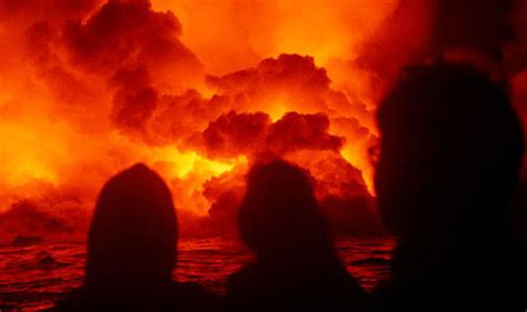 lava bomb tour boat video hawaii volcano eruption shock video shows lava bomb