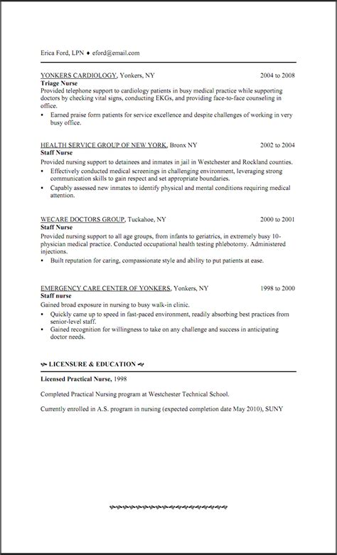 Exle Of Lpn Resume by Lpn Resume Skills