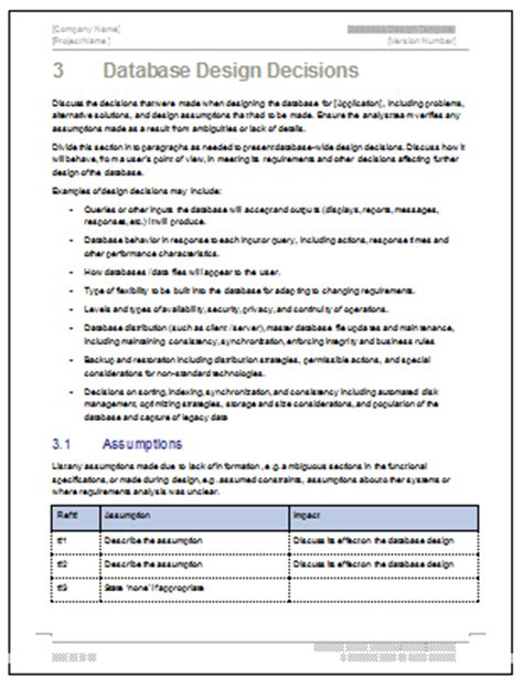 database design document template instant download