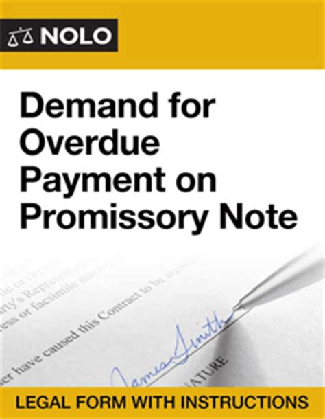 Demand For Overdue Payment On Promissory Note Legal Form Nolo Nolo Promissory Note Template