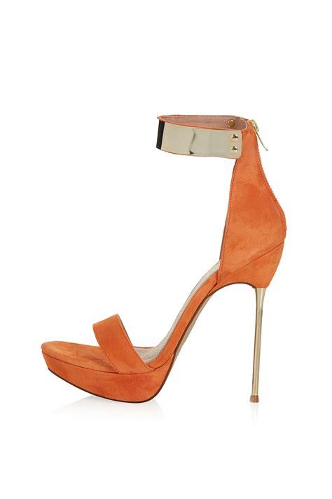 orange sandal heels topshop metal heel sandals in orange lyst
