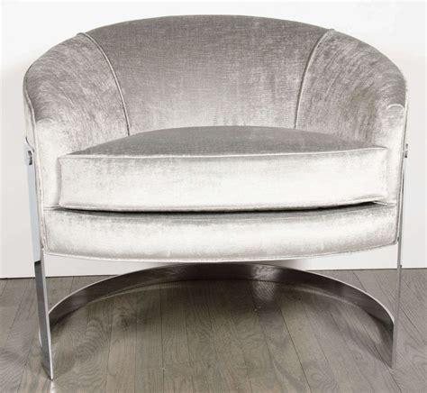 mid century modern pair of modernist semi circular chrome
