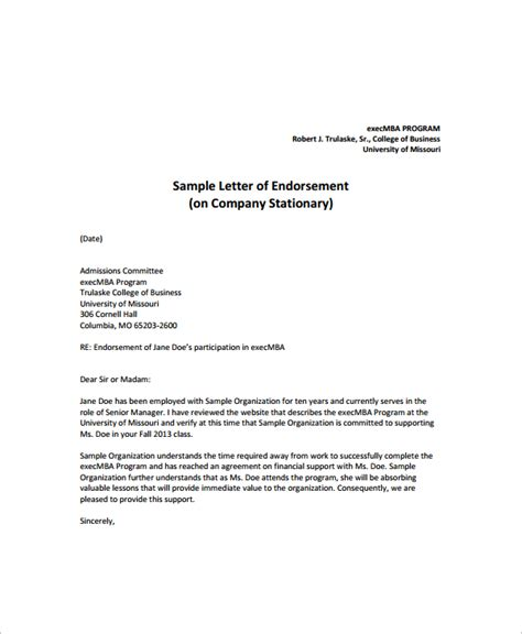 Endorsement Product Letter Sle Sle Endorsement Letter 9 Documents In Pdf
