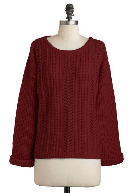 Sweater Classic Maroon Lo Sweater Babyterry Maroon company sweater in burgundy mod retro vintage sweaters modcloth