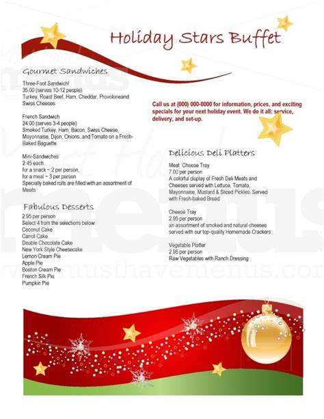 holiday dinner catering menu page 1
