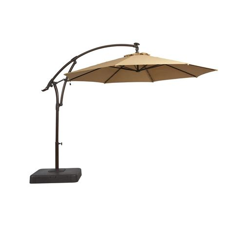 Hton Bay 11 Ft Offset Led Patio Umbrella In Tan Sun Umbrellas For Patio