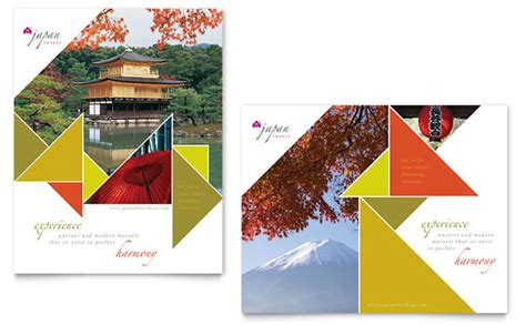 japan travel brochure template japan travel poster template design