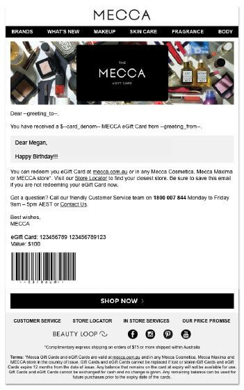 Mecca Gift Card - mecca gift cards the ultimate gift for every beauty buff