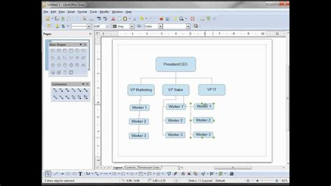 comment faire un organigramme avec open office impress libreoffice draw 04 a simple org chart