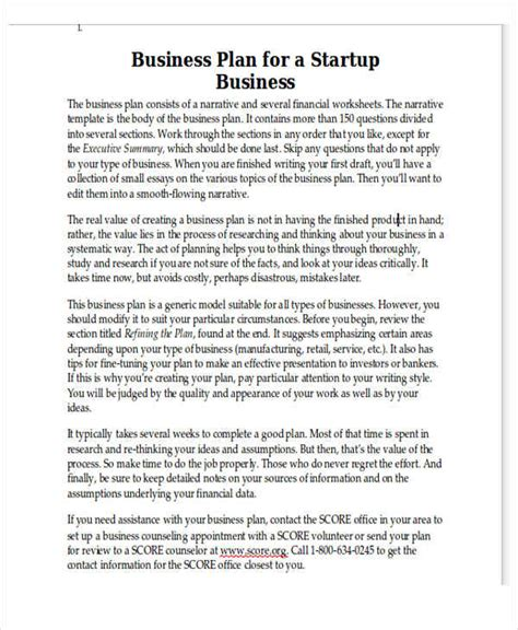 personal business plan templates 6 free word pdf