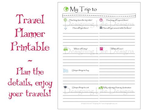 printable vacation planners vacation travel planner printable pdf sheets my trip to