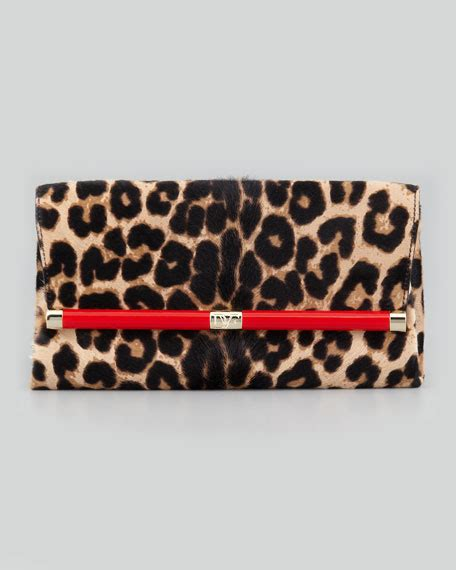 Up Of Designer Animal Print Clutch by Diane Furstenberg 440 Leopard Print Calf Hair Clutch Bag