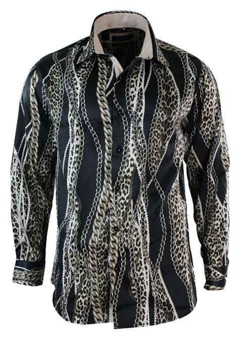 Gold Chain Casual Blouse Motif mens satin silk gold black grey button chain pattern paisley italian shirt ebay