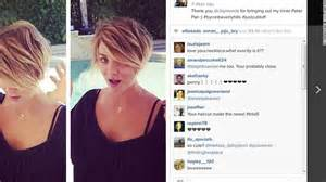 caption for big haircut kaley cuoco pixie cut