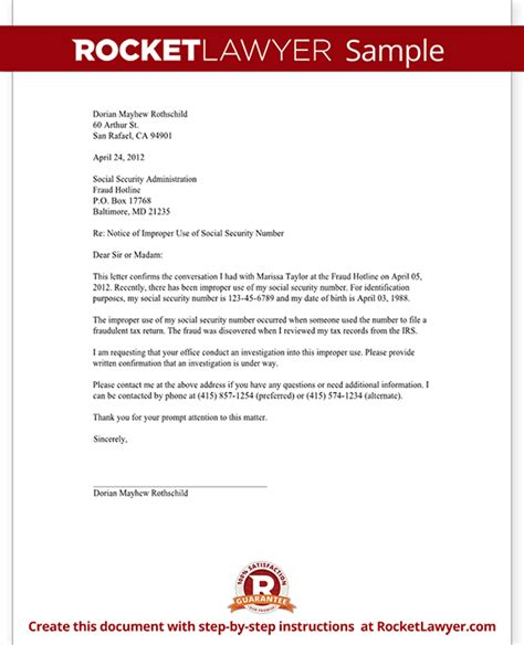 Template Letter For Social Security Numbers On Credit Reports Letter To Report Unauthorized Use Of A Social Security