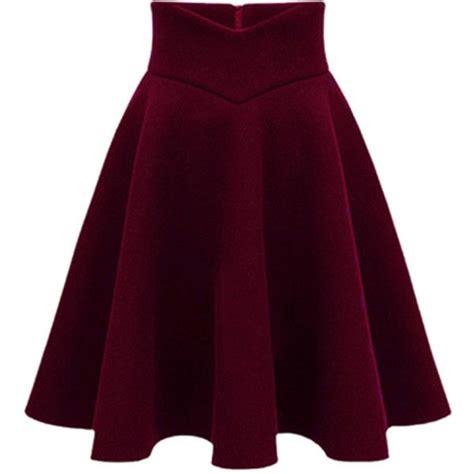 choies wine high waist midi woolen skater skirt
